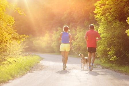 Les aînés actifs en cours d'exécution avec leur chien à l'extérieur dans la nature verte Banque d'images - 44436063