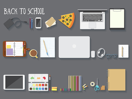 supplies: Back to school desktop composition. Vector illustration.