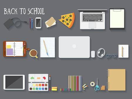 utiles escolares: Volver a la composición de escritorio de la escuela. Ilustración del vector.