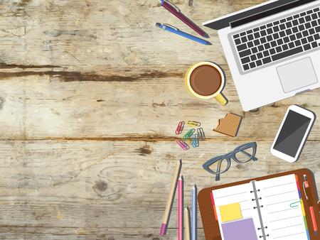 office icon: Back to school desktop composition. Vector illustration.