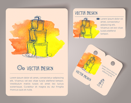 blank business card: Abstract hand drawn watercolor cards. Vector illustration