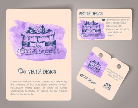 抽象的な手には、水彩のカードが描画されます。ベクトル図
