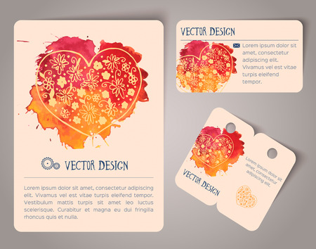 hearts background: Abstract hand drawn watercolor cards. Vector illustration