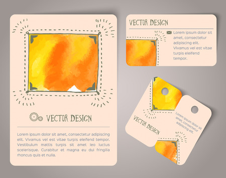 hand drawn: Abstract hand drawn watercolor cards. Vector illustration