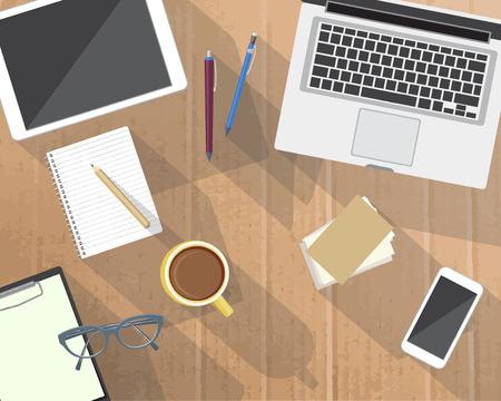 desktops: Back to school desktop composition. Vector illustration.