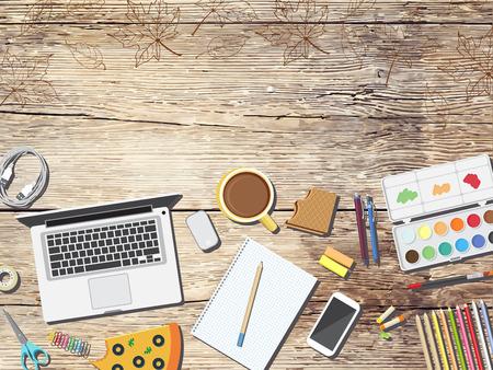 school supplies: Back to school desktop composition. Vector illustration.