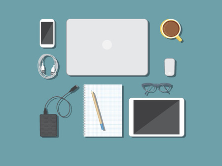 workspace: Back to school desktop composition. Vector illustration.