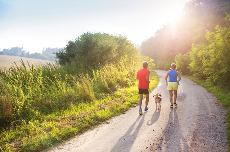 Active seniors running with their dog outside in green nature Stockfoto