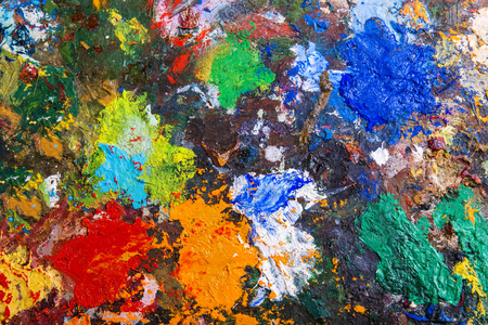 modern art: Art palette background with various acrylic paint spots