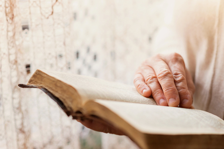 worship hands: Unrecognizable woman holding a bible in her hands Stock Photo