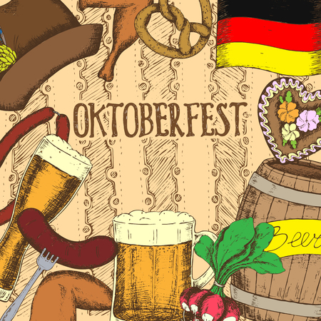 sausages: Oktoberfest greeting card with food and drinks. Vector illustration.