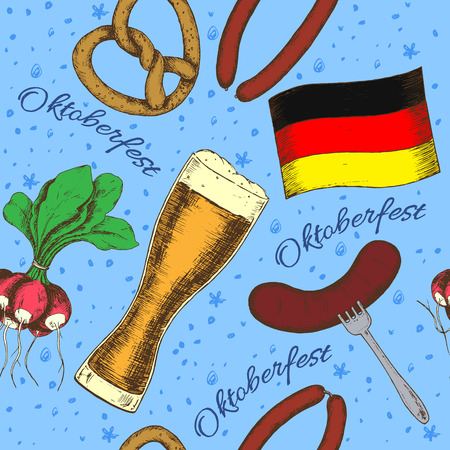 german tradition: Oktoberfest greeting card with food and drinks. Vector illustration.