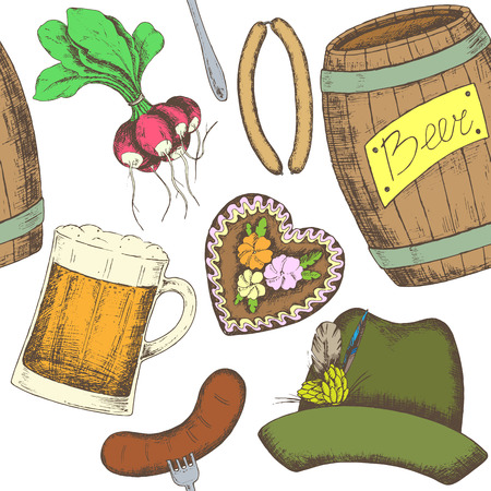 Oktoberfest greeting card with food and drinks. Vector illustration.