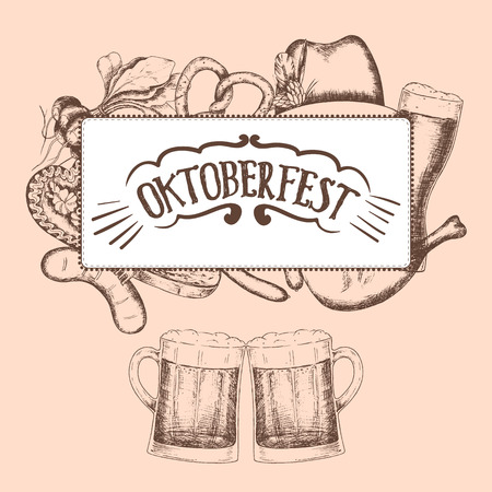 food and drinks: Oktoberfest greeting card with food and drinks. Vector illustration.