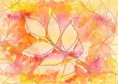 Bunte Hand gezeichnete Blätter im Herbst. Vektor-Illustration.