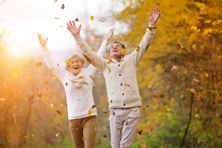 Active seniors having fun and playing with the leaves in autumn forest Banque d'images