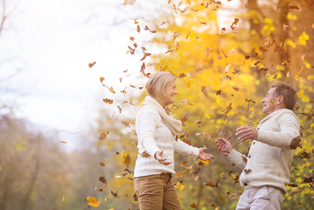 fall fun: Active seniors having fun and playing with the leaves in autumn forest Stock Photo