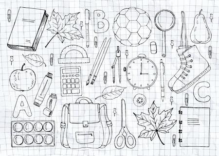 compas de dibujo: Dibujado a mano sin patrón, con artículos escolares