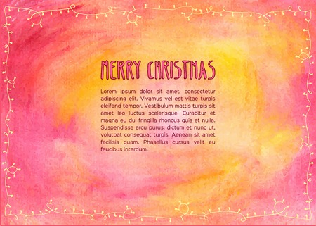 christmas decoration: Hand drawn watercolor christmas card. Vector illustration. Illustration