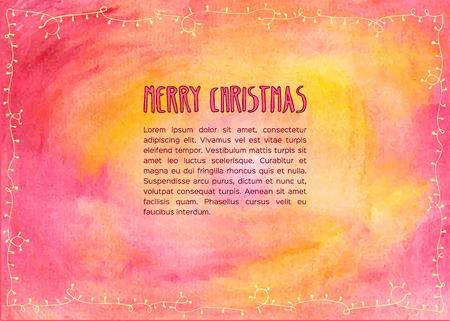 christmas wallpaper: Hand drawn watercolor christmas card. Vector illustration. Illustration