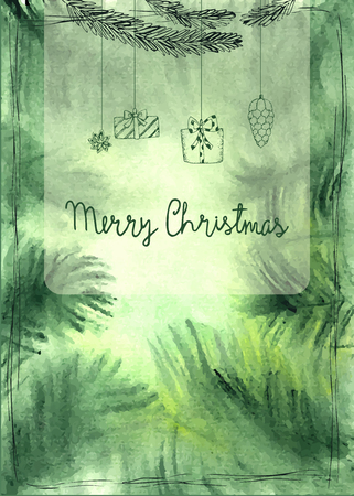 Hand drawn watercolor christmas card. Vector illustration. Ilustrace