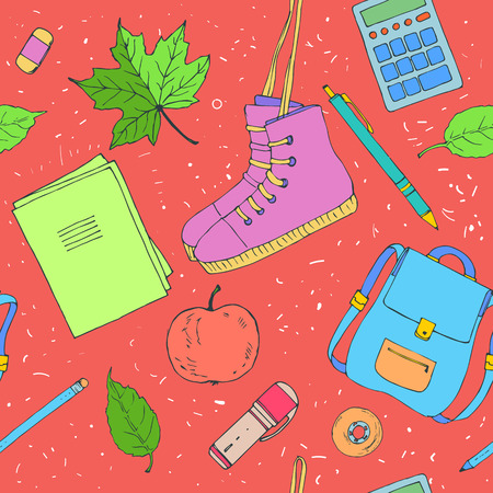 pencil drawing: Hand drawn seamless pattern with school items