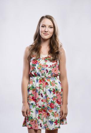 teenage girl: Beautiful young teenage girl. Studio shot on white background