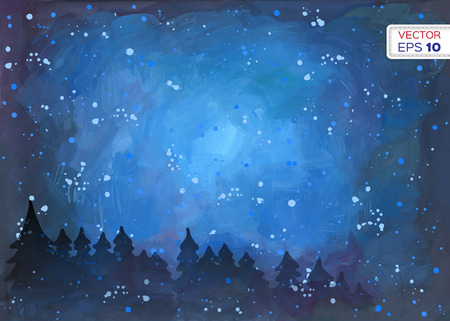 blue stars: Abstract hand drawn watercolor background. Vector illustration.