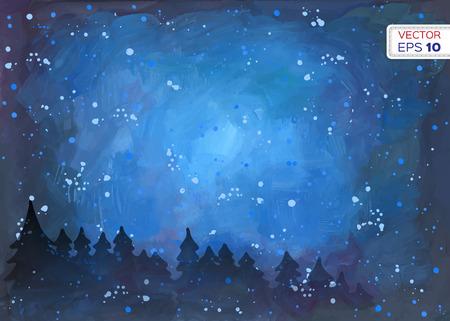 nacht: Zusammenfassung Hand gezeichnet Aquarell Hintergrund. Vektor-Illustration.