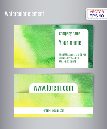 carte visite: Hand drawn watercolor business card. Vector illustration.