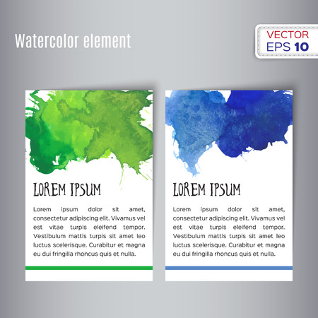 blank template: Hand drawn watercolor business card. Vector illustration.