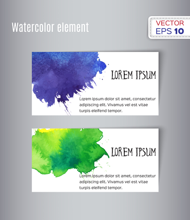 visitekaartje: Hand drawn watercolor business card. Vector illustration.