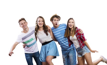 checked shirt: Trendy teenagers posing. Studio shot on white background Stock Photo
