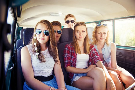 young group: Beautiful young people on a road trip on a summers day Stock Photo