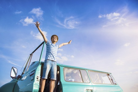 adventure travel: Teenage friends on a road trip on a summers day