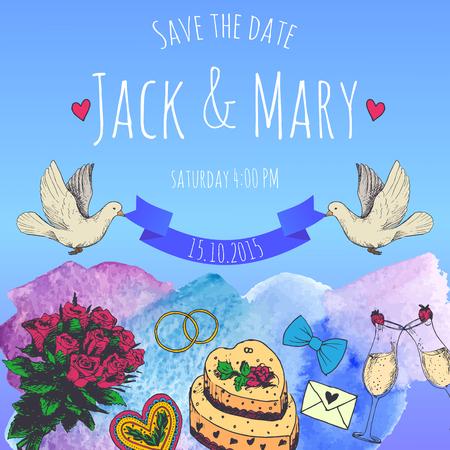 Wedding watercolor vector invitation. Save the date.