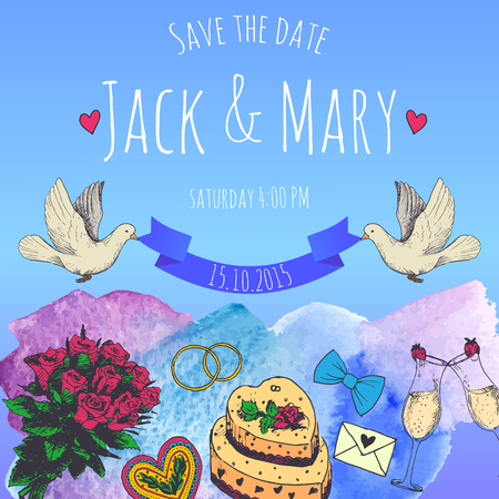 wedding cake illustration: Wedding watercolor vector invitation. Save the date.