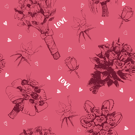 rose bouquet: Hand drawn seamless pattern with love symbols