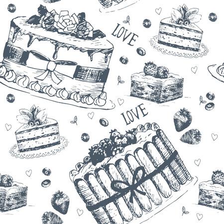 Hand drawn seamless pattern with love symbols