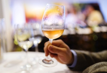 tomando vino: joven irreconocible disfrutando de una copa en un bar de vinos