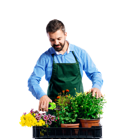 apron: Young handsome gardener in green apron. Studio shot on white background