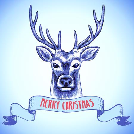 renna: Mano disegnato renna Cartolina di Natale. Illustrazione vettoriale. Vettoriali