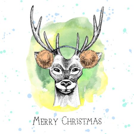 muffs: Hand drawn reindeer Christmas card. Vector illustration.