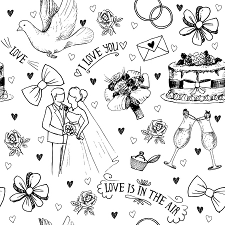 bride bouquet: Hand drawn seamless pattern with love symbols