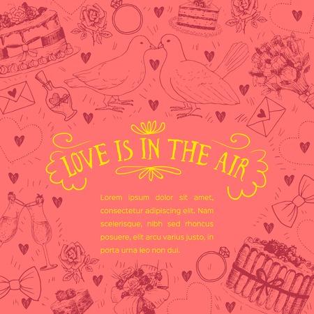 lazo regalo: dibujado a mano la invitación de boda con símbolos de amor Vectores