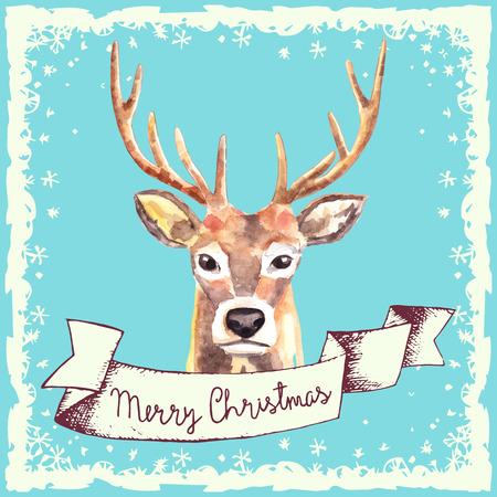 background deer: Hand drawn reindeer Christmas card. Vector illustration.