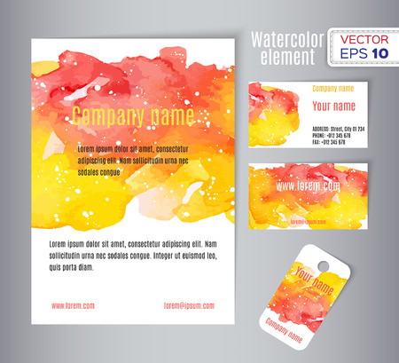 spot: Hand drawn watercolor business card. Vector illustration.