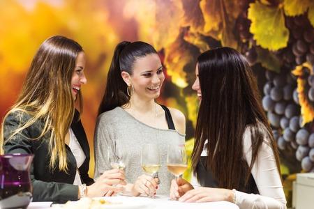 tomando vino: Hermosas mujeres jóvenes que tienen fuera de la diversión en el bar de vinos Foto de archivo