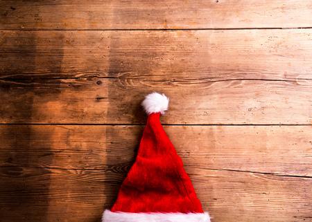 christmas table: Christmas composition. Studio shot on wooden background. Stock Photo
