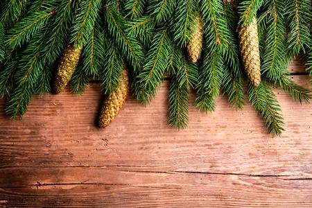 madera rústica: Cerca de las ramas de los árboles de abeto en el fondo de madera.